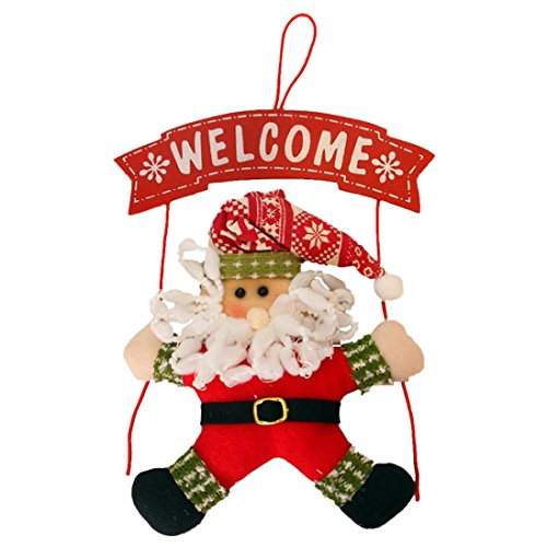 TOPUNDER Christmas Wreath Christmas Snowman Party Door Decoration Christmas door hanging (Red)