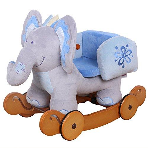 Rocking Elephant with Wheels - Blue