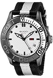 """Gucci Men's YA126243 """"G-Timeless"""" White Diamond Pattern Dial Watch"""