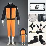 Japon�s Anime Naruto Uzumaki Naruto Cosplay Costume Set,Uzumaki Naruto cosplay abrigo+Uzumaki Naruto diadema+armas de traje +Ninja zapatos,Tama�o S 155cm-160cm,Peso 40-50kg