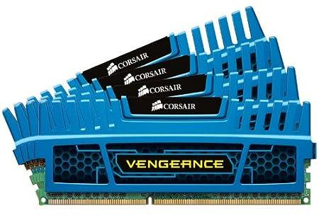 Corsair CMZ16GX3M4A2133C11B Vengeance 16GB (4x4GB) DDR3 2133 Mhz CL11 Mémoire pour ordinateur de bureau performante avec profil XMP. Bleu