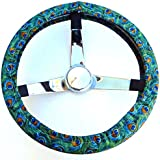 Mana Trading Handmade Steering Wheel Cover Vintage Style Packed Peacock Feathers