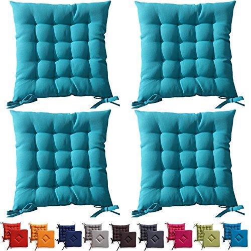 Set di 4 cuscini da sedia trapuntati - cuscini da esterno - 40 x 40 x ...