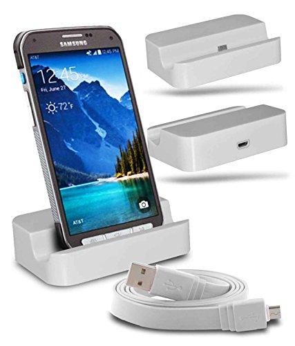Samsung Galaxy S6 active SM-G890 Station d'accueil de bureau avec chargeur Micro USB support de chargement avec Câble USB d'un mètre - White - By Gadget Giant®