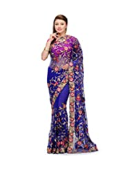 Royal Blue Net Saree With Resham Work