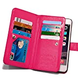 For iPhone 6 Plus Case, Roybens 9 Card slot PU Leather Wallet Case 2 in 1 Magnetic Detachable back cover Flip case with strap For Apple iPhone 6 Plus (5.5) Rose
