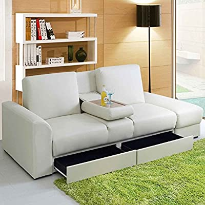 New Modern Faux Leather Kensington Storage Drawers 3 Seater Sofa Bed & Foot Stool In Black, Brown or White