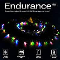 PowerBee ® Endurance Deluxe Solar Fairy Lights 100 Quality Superbright LED's Multi Function Indoor / Outdoor Garden, Party, Tree Lights for ALL YEAR round use including winter by PowerBee Ltd