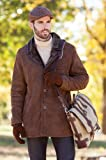 Men's Thames Spanish Merino Shearling Sheepskin Pea Coat by NYC Leather Factory Outlet