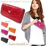 アナスイ好きに♪Gucciny&Co バタフライモチーフ  アーバン長財布 二つ折財布 (ピンク)