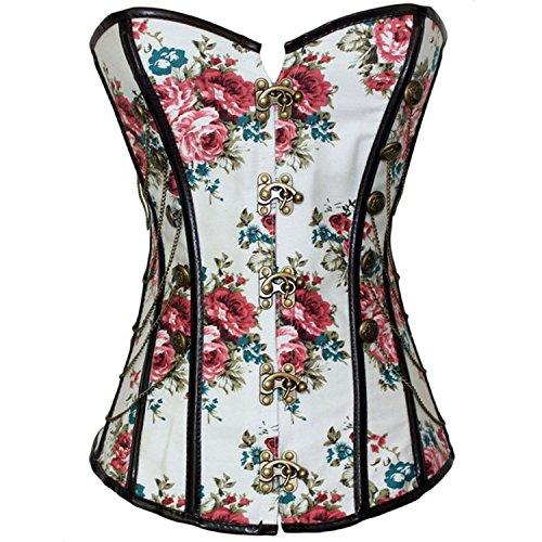 Gotico Corsetti sexy corpo raccolte petto vita corsetto signora che tiene corsetto selvaggio signore collant , rose pattern , xxl