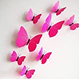 12 Pcs 3D Butterfly Plain Pink Color PVC Stickers DIY Wall Stickers Crafts Butterflies (2 Pack)