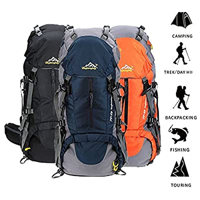 Susufaa 50L Hiking Backpack Daypack Waterproof Outdoor Sport Camping Fishing Travel Climbing Mountaineering Cycling Skiing with Rain Cover