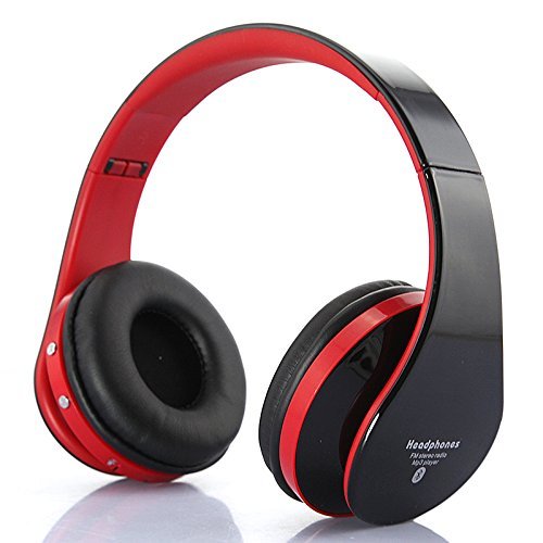 Dbpower Universal Wireless Bluetooth Foldable Headphones Stereo Headset Neckband Style Earphone And Handfree Headphones For Cellphones Iphone, Nokia, Htc, Samsung, Lg, Moto, Pc, Ipad, Psp (Red+Black)