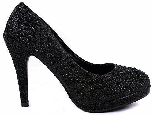 JJF Shoes Apple5 Black Rhinestone Glitter Sparkling Bling Formal Evening Pumps-7