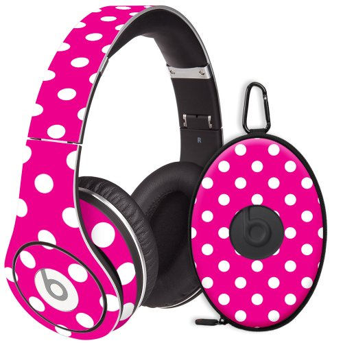 White Polka Dot On Hot Pink Decal Skin For Beats Studio Headphones & Carrying Case By Dr. Dre