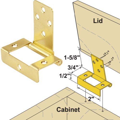 Platte River 139175, Hardware, Hinges, Surface Mounted, Non-Mortise Lid Hinge Brass Plated (Hinges For Toy Box compare prices)