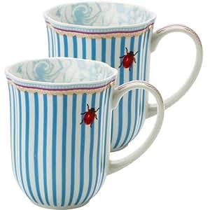 2er set becher kaffeebecher porzellan wei blau rosa 39 stripie 39 lisbeth dahl k che. Black Bedroom Furniture Sets. Home Design Ideas