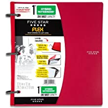 Five Star Flex Hybrid NoteBinder, 1-Inch Capacity, 11.5 x 11 Inches, Red (72005)