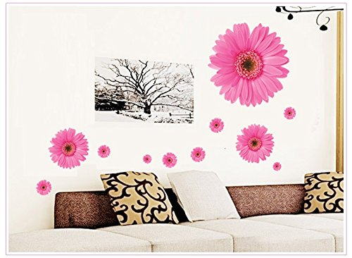 Kappier Big Bright Daisy Flowers Peel & Stick Removable Wall Decals (Pink)