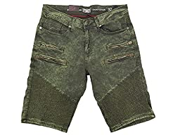 Jordan Craig Twill Denim Moto Shorts Army Green (40)