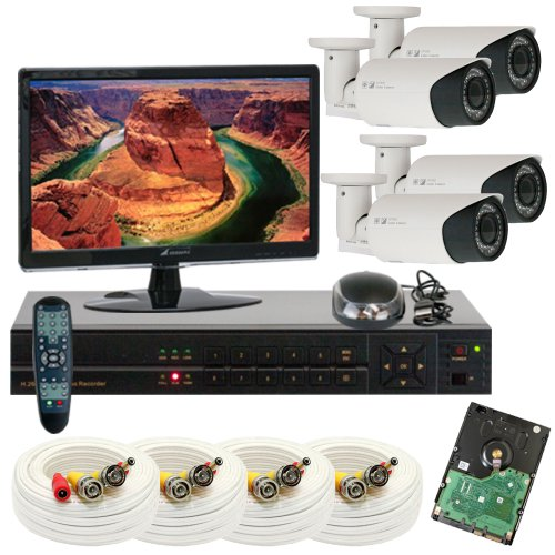 Gw Security Inc 4Che6 4 Channel H.264 960H & D1 Realtime Dvr With 4 X Color Sony Cmos Water Proof 1000 Tvl Varifocal Lens Security Camera, Free Led (White/Black)