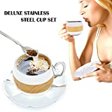 Coffee Cup Set Yummy Sam® Stainless Steel 140ml Coffee / Milk Cup with Spoon and Saucer Double Wall Beverage Mug / Coffee Cup Coffee Mug Home Gadget Kitchen tool