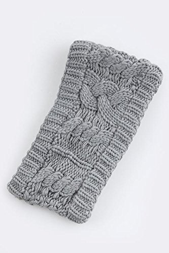 Trendy Fashion Jewelry Vertical Cable Design Knit Headwrap By Fashion Destination | (Gray)