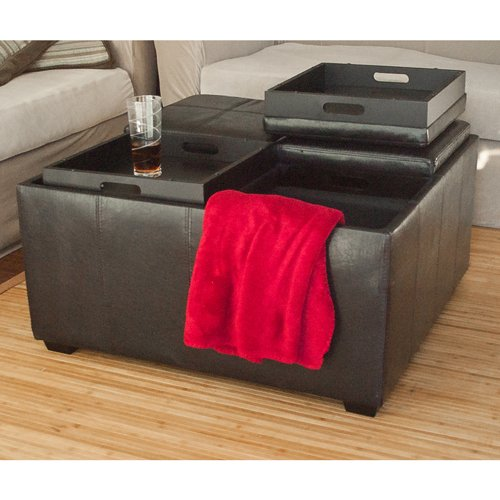 New Leather Ottoman With 4 Traytops Storage Coffee
