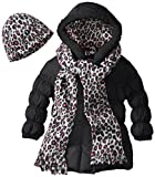 Pink Platinum Little Girls  Solid Puffer Cheetah Hat and Scarf
