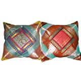 2 Brown Vintage Silk Sari Toss Pillow Cushion Coversby Mogulinterior