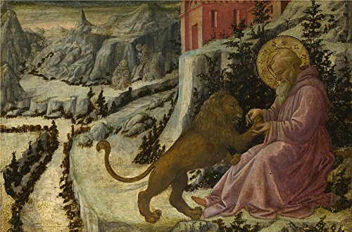 'Fra Filippo Lippi And Workshop Saint Jerome And The Lion Predella Panel ' Oil Painting, 18 X 27 Inch / 46 X 69 Cm ,printed On Perfect Effect Canvas ,this High Quality Art Decorative Canvas Prints Is Perfectly Suitalbe For Garage Decoration And Home Decor And Gifts