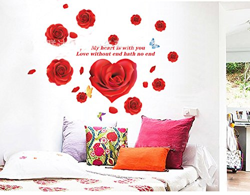Theme Decal (TM) 120*90cm Red Rose Flower Wedding Room Decor Removable Home Decals PVC Art Decoration Mural Wall Decal Wall Stickers Bedroom Sitting Room Window Sofa TV Background Vinyl DIY Art Decals
