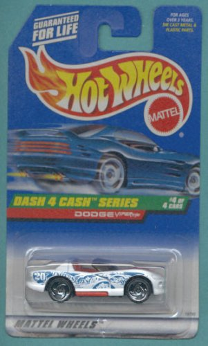 Mattel Hot Wheels 1998 1:64 Scale Dash 4 Cash Series White Dodge Viper RT/10 Die Cast Car 4/4 - 1