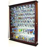 110 Souvenir Shot Glass Shooter Display Case Holder Cabinet Wall Rack-Glass Door 100% Exposure Mirror Back