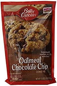 Betty Crocker Cookie Mix, Oatmeal Chocolate Chip, 17.5-Ounce Pouches (Pack of 12)
