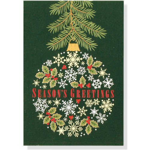 Holly and Snowflake Ornament Small Holiday Cards: Gold Foil [With 21 Envelopes]