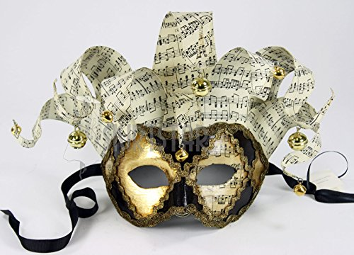 Italian Made Venetian Jester Mask with Music Notes and Bells