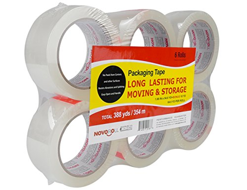 NOVOROLL Clear Heavy Duty Shipping Packaging Tape, 1.88 Inches x 54.6 Yards, You Pay $7.29 Actually for 6 Rolls Packing Tape ( Bonus of 60 Yards = $1.7 ) (Packing Tape Refill compare prices)