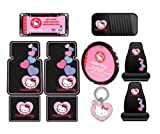 Hello Kitty Sanrio Hearts Design 10pc Auto Accories Combo Set &#8211; Front &amp; Rear Floor Mats, Seat Covers, Steering Wheel Cover, CD Visor Organizer, License Plate Frame &amp; Keychain