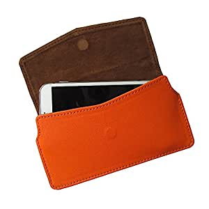 i-KitPit : PU Leather Pouch Case With Magnetic Closure For Lava Xolo Q1010 (ORANGE)