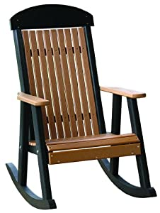Outdoor Polywood PORCH ROCKER - *CEDAR/BLACK* Color from Amish Made in the USA