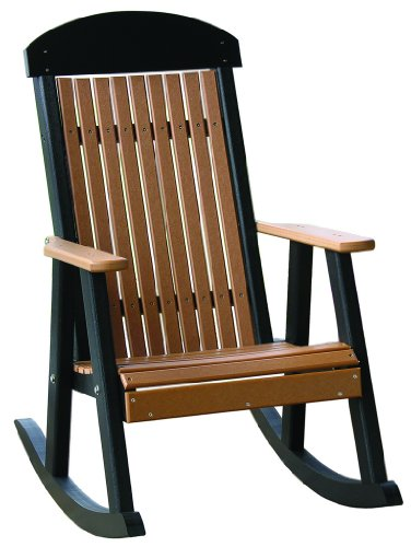 Outdoor Polywood Porch Rocker - *Cherrywood/Black* Color front-94107
