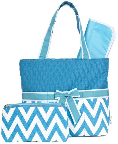 Ever Moda Teal Chevron Quilted Diaper Bag with Change Pad