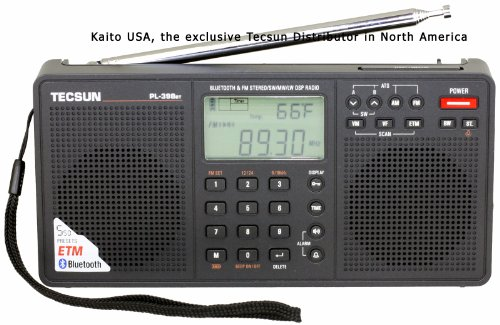 Tecsun Pl398Bt Dsp Digital Am/Fm/Lw Shortwave Radio With Dual Speakers & Bluetooth, Black