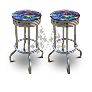 2 MAN CAVE Automobile Vintage Muscle Car 29  Specialty Chrome Barstools Bar Stools