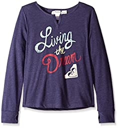Roxy Big Girls\' Living The Dream Long Sleeve Tee, Eclipse, X-Small/7