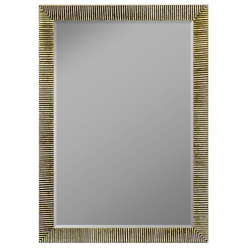 """Second Look Mirrors Textured Silver Ribbed Framed Wall Mirror, 25' x 35"""""""