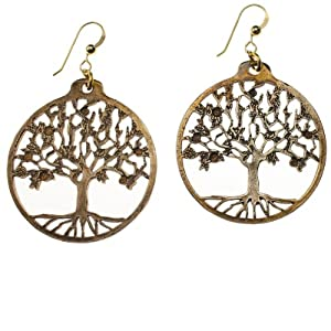 Tree of Life Peace Bronze Earrings on French Hooks