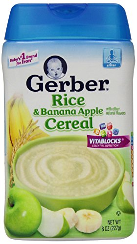 Gerber Baby Cereal Rice, Banana Apple, 8 Ounce - 1